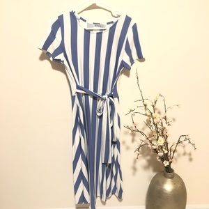 Women's Short Sleeve Striped Casual Flowy Midi